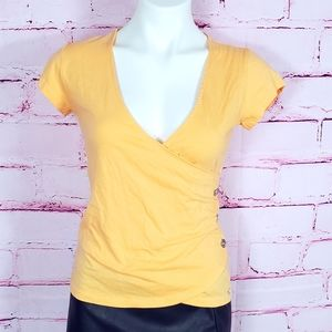 Guess Faux Wrap Peach Colored Short Sleeve Tee